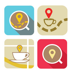 coffee-map-icons vector image