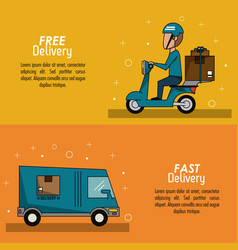 color poster banner scene fast delivery man vector image