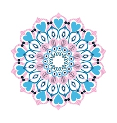Colorful intricate mandala with hearts icon vector