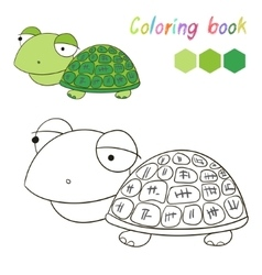 Coloring book turtle kids layout for game vector
