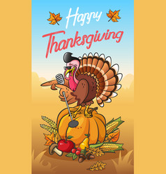 cool singing turkey on the pumpkin vector image