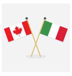 crossed canada and italy flags icons with shadow vector image