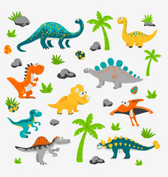 Cute and funny flat dinosaurs - t-rex vector