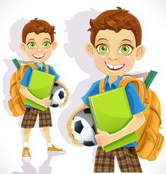 Cute boy student with a backpack and a textbook vector