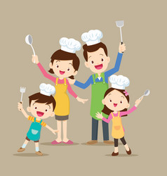 Cute family cooking vector