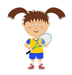 cute little girl poses with badminton rocket vector image