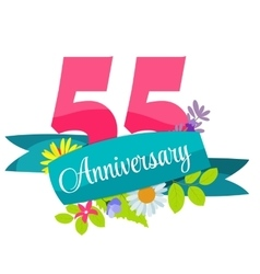 Cute Template 55 Years Anniversary Sign vector image