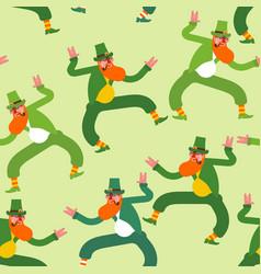 dancing leprechaun pattern seamless irish vector image