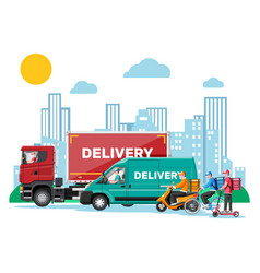 delivery man on van truck scooter bicycle vector image