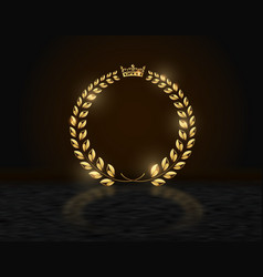Detailed round golden laurel wreath crown award on vector