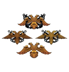 Double headed imperial nautical eagle icons vector image