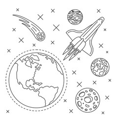 earth planet space concept background outline vector image