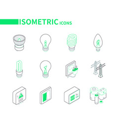 electrical supplies - modern colorful isometric vector image