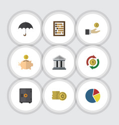 Flat icon finance set of money box parasol bank vector
