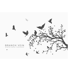 Flock of flying birds on tree branch tree vector