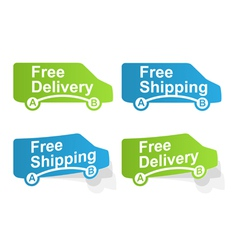 Free delivery and free shipping labels vector