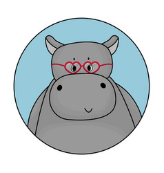 gray male cartoon hippo is smiling avatar vector image