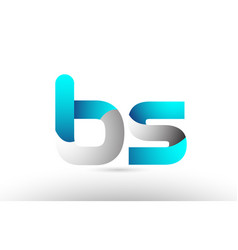 Grey blue alphabet letter bs b s logo 3d design vector