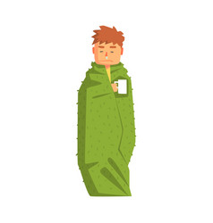 Guy wrapped in blanket with hot drink having cold vector