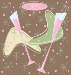 happy 2010 retro champagne toast vector image