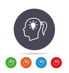 Head with lamp bulb sign icon female woman head vector