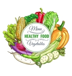 Healthy food vegetables poster vector image