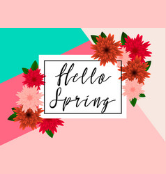 hello spring floral greeting card paper flowers vector image