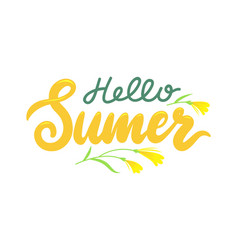 hello summer banner with lettering and flower vector image