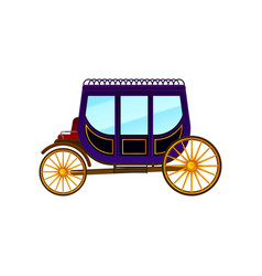 horse-drawn carriage with large purple cab and big vector image