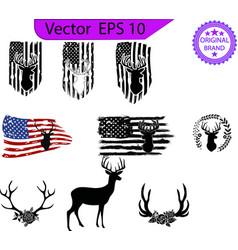 hunting american flag deer and antlers vector image