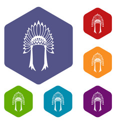 Indian headdress icons set vector