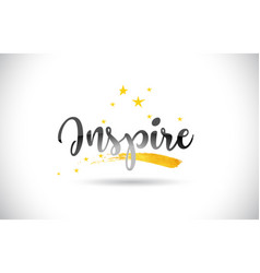 Inspire word text with golden stars trail and vector