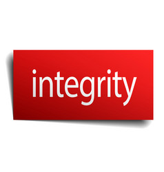 Integrity red square isolated paper sign on white vector