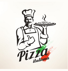 italian chef holding pizza stylized silhouette vector image
