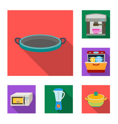 kitchen equipment flat icons in set collection for vector image