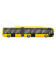 large articulated trolleybus yellow with modern vector image