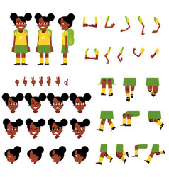 little african schoolgirl creation set - cartoon vector image