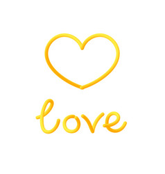 love and heart painted with beautiful curved vector image