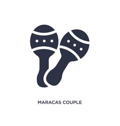 Maracas couple icon on white background simple vector