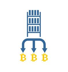 Mining bitcoin farm icon extraction of vector