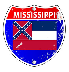 Mississippi flag icons as interstate sign vector