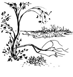 nature landscape black ink minimalistic hand drawn vector image