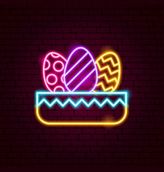 Nest with eggs neon sign vector