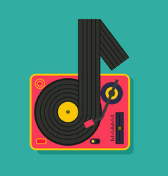 note music vinyl player turntable icon dj music vector image