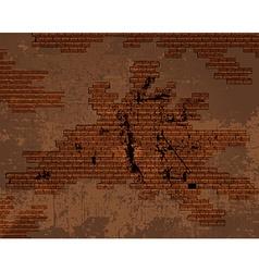 Old shabby cracked brick wall vector