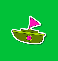 Paper sticker on stylish background kids toy boat vector