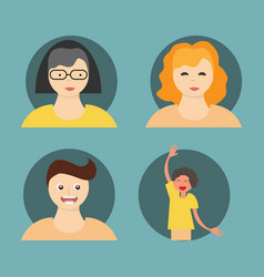 People icon set in trendy flat style isolated vector