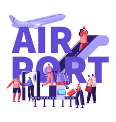 people in airport concept characters airplane vector image