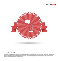 phone with message icon - red ribbon banner vector image