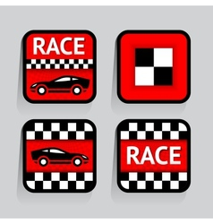 Race - set stickers square on the gray background vector image